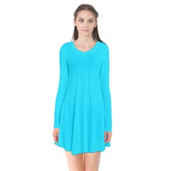 Neon Color   Light Brilliant Arctic Blue Flare Dress