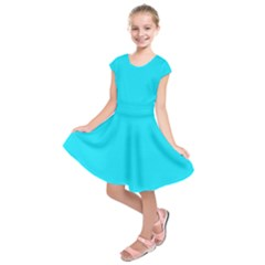 Neon Color   Light Brilliant Arctic Blue Kids  Short Sleeve Dress