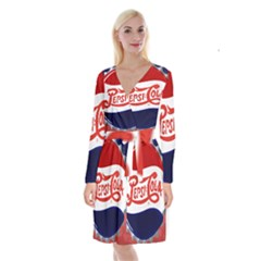 Pepsi Cola Long Sleeve Velvet Front Wrap Dress
