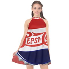 Pepsi Cola Halter Neckline Chiffon Dress