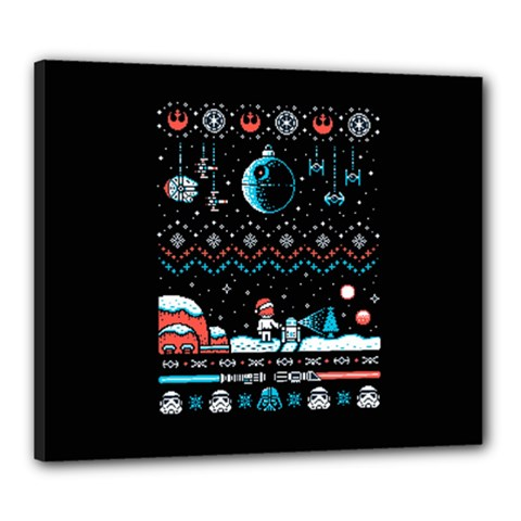 That Snow Moon Star Wars  Ugly Holiday Christmas Black Background Canvas 24  x 20