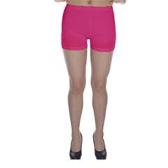 Neon Color - Light Brilliant Crimson Skinny Shorts