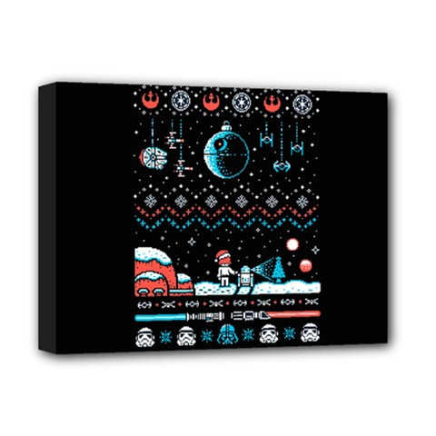 That Snow Moon Star Wars  Ugly Holiday Christmas Black Background Deluxe Canvas 16  X 12