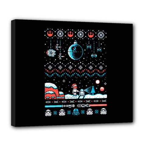 That Snow Moon Star Wars  Ugly Holiday Christmas Black Background Deluxe Canvas 24  X 20