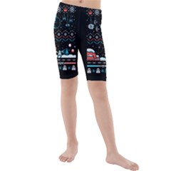 That Snow Moon Star Wars  Ugly Holiday Christmas Black Background Kids  Mid Length Swim Shorts