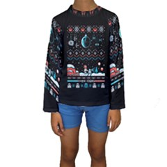 That Snow Moon Star Wars  Ugly Holiday Christmas Black Background Kids  Long Sleeve Swimwear