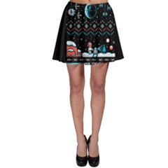 That Snow Moon Star Wars  Ugly Holiday Christmas Black Background Skater Skirt