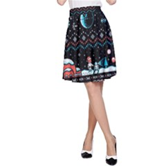 That Snow Moon Star Wars  Ugly Holiday Christmas Black Background A-Line Skirt