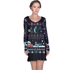 That Snow Moon Star Wars  Ugly Holiday Christmas Black Background Long Sleeve Nightdress