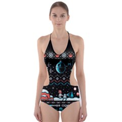 That Snow Moon Star Wars  Ugly Holiday Christmas Black Background Cut-Out One Piece Swimsuit