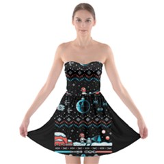 That Snow Moon Star Wars  Ugly Holiday Christmas Black Background Strapless Bra Top Dress