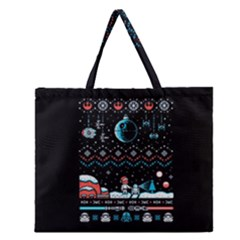 That Snow Moon Star Wars  Ugly Holiday Christmas Black Background Zipper Large Tote Bag