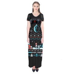 That Snow Moon Star Wars  Ugly Holiday Christmas Black Background Short Sleeve Maxi Dress