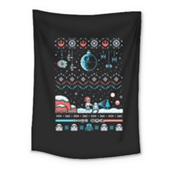 That Snow Moon Star Wars  Ugly Holiday Christmas Black Background Medium Tapestry