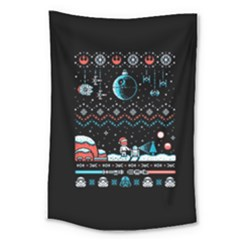 That Snow Moon Star Wars  Ugly Holiday Christmas Black Background Large Tapestry