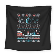 That Snow Moon Star Wars  Ugly Holiday Christmas Black Background Square Tapestry (large)
