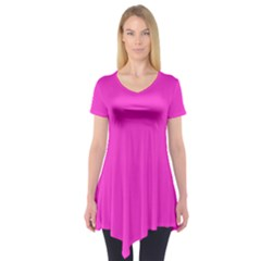 Neon Color - Light Brilliant Fuchsia Short Sleeve Tunic