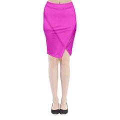 Neon Color - Light Brilliant Fuchsia Midi Wrap Pencil Skirt