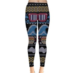 Ugly Summer Ugly Holiday Christmas Black Background Leggings