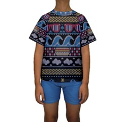 Ugly Summer Ugly Holiday Christmas Black Background Kids  Short Sleeve Swimwear