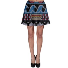 Ugly Summer Ugly Holiday Christmas Black Background Skater Skirt