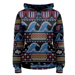 Ugly Summer Ugly Holiday Christmas Black Background Women s Pullover Hoodie