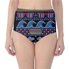 Ugly Summer Ugly Holiday Christmas Black Background High Waist Bikini Bottoms