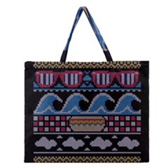 Ugly Summer Ugly Holiday Christmas Black Background Zipper Large Tote Bag