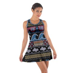 Ugly Summer Ugly Holiday Christmas Black Background Cotton Racerback Dress