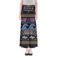 Ugly Summer Ugly Holiday Christmas Black Background Maxi Skirts