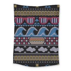 Ugly Summer Ugly Holiday Christmas Black Background Medium Tapestry
