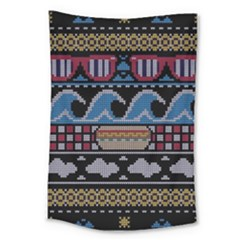 Ugly Summer Ugly Holiday Christmas Black Background Large Tapestry