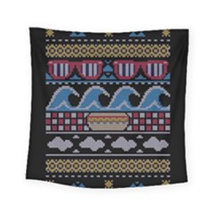 Ugly Summer Ugly Holiday Christmas Black Background Square Tapestry (Small)