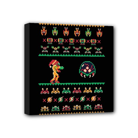 We Wish You A Metroid Christmas Ugly Holiday Christmas Black Background Mini Canvas 4  x 4