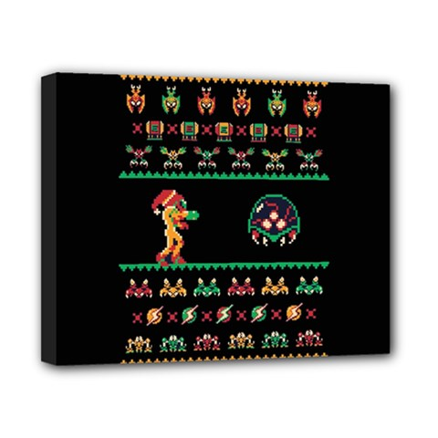 We Wish You A Metroid Christmas Ugly Holiday Christmas Black Background Canvas 10  x 8