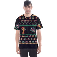 We Wish You A Metroid Christmas Ugly Holiday Christmas Black Background Men s Sport Mesh Tee