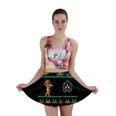 We Wish You A Metroid Christmas Ugly Holiday Christmas Black Background Mini Skirt