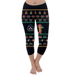 We Wish You A Metroid Christmas Ugly Holiday Christmas Black Background Capri Winter Leggings