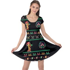 We Wish You A Metroid Christmas Ugly Holiday Christmas Black Background Cap Sleeve Dresses