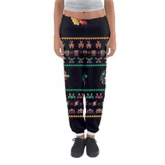 We Wish You A Metroid Christmas Ugly Holiday Christmas Black Background Women s Jogger Sweatpants