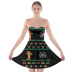 We Wish You A Metroid Christmas Ugly Holiday Christmas Black Background Strapless Bra Top Dress