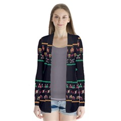 We Wish You A Metroid Christmas Ugly Holiday Christmas Black Background Cardigans