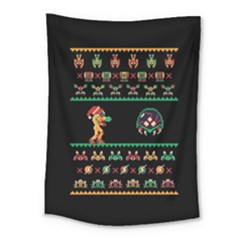 We Wish You A Metroid Christmas Ugly Holiday Christmas Black Background Medium Tapestry