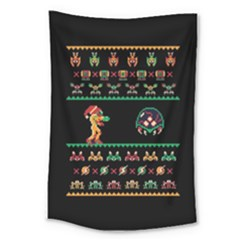 We Wish You A Metroid Christmas Ugly Holiday Christmas Black Background Large Tapestry