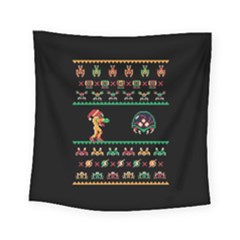 We Wish You A Metroid Christmas Ugly Holiday Christmas Black Background Square Tapestry (Small)