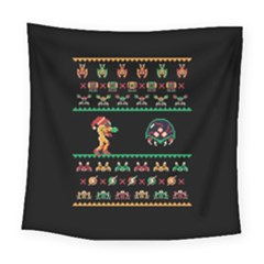 We Wish You A Metroid Christmas Ugly Holiday Christmas Black Background Square Tapestry (large)