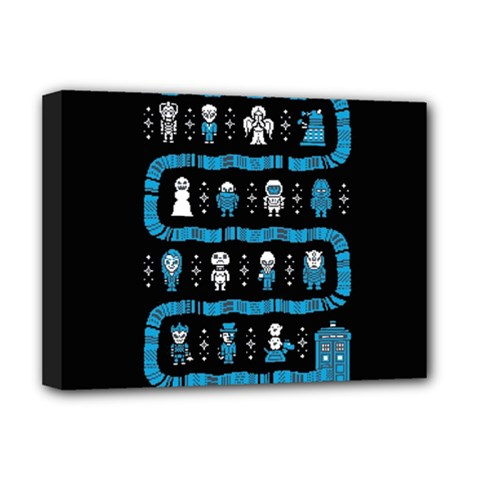Who Is Outside Ugly Holiday Christmas Black Background Deluxe Canvas 16  x 12