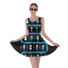 Who Is Outside Ugly Holiday Christmas Black Background Skater Dress