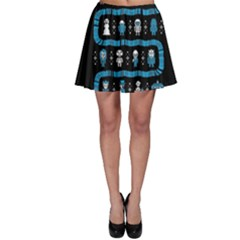 Who Is Outside Ugly Holiday Christmas Black Background Skater Skirt