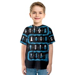 Who Is Outside Ugly Holiday Christmas Black Background Kids  Sport Mesh Tee